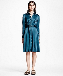 Silk Charmeuse Shirt Dress