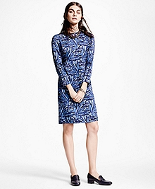 Silk Charmeuse Print Shift Dress