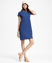 Short-Sleeve Wool Crepe Shift Dress