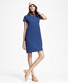 Short-Sleeve Wool Crepe Shift Dress