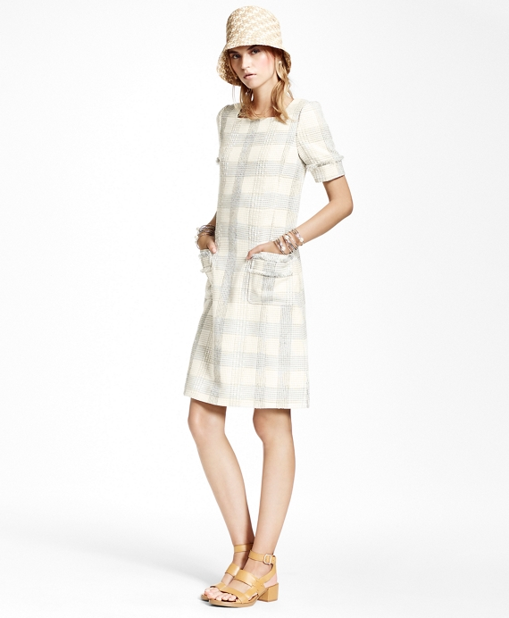 Textured Dobby Cotton-Blend Plaid Dress White-Grey