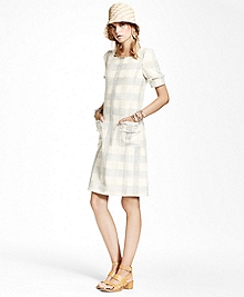 Textured Dobby Cotton-Blend Plaid Dress