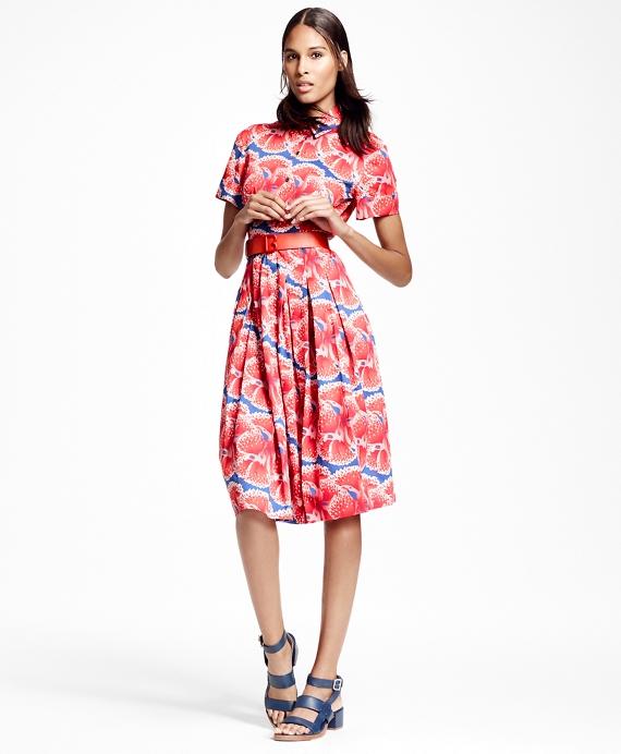 Floral-Print Cotton Sateen Shirt Dress Red