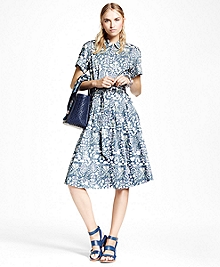 Cotton Sateen Print Shirt Dress