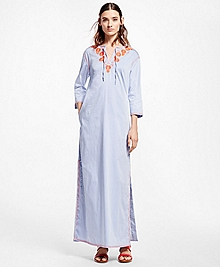 Floral-Embroidered Caftan