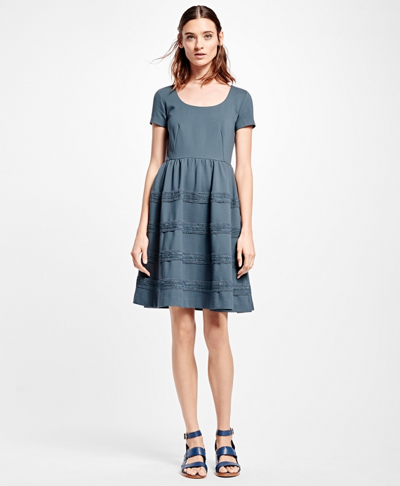 Stretch Ponte Fit-and-Flare Dress Grey