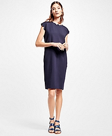 Scallop-Edge Stretch Ponte Shift Dress