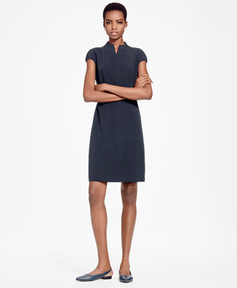Cap-Sleeve Crepe Satin Sheath Dress