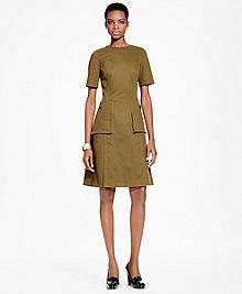 Stretch Cotton-Twill A-Line Dress
