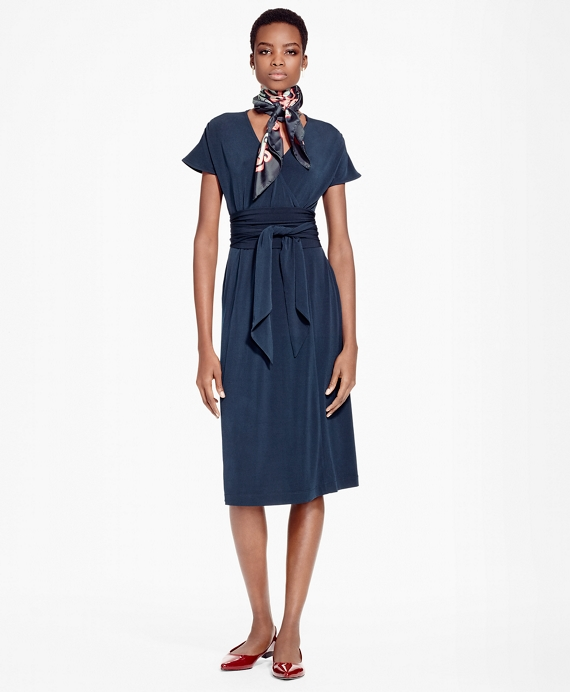 Faux Wrap Fit-and-Flare Dress Navy