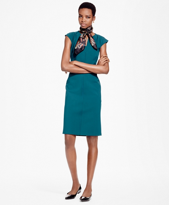 Ponte Knit Sheath Dress Teal
