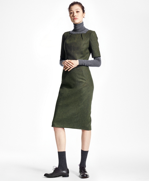 Wool Twill Shift Dress Dark Green