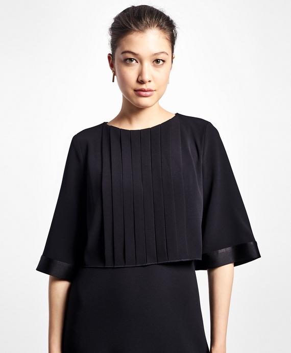 Crepe Elbow-Length Pleated Dress - Brooks Brothers