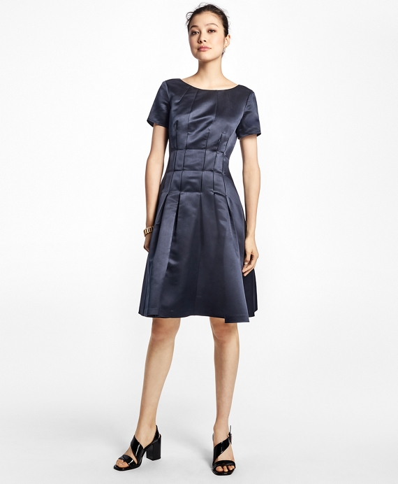 Silk Fit-and-Flare Dress Navy