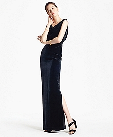 Sleeveless Silk-Blend and Velvet Evening Gown