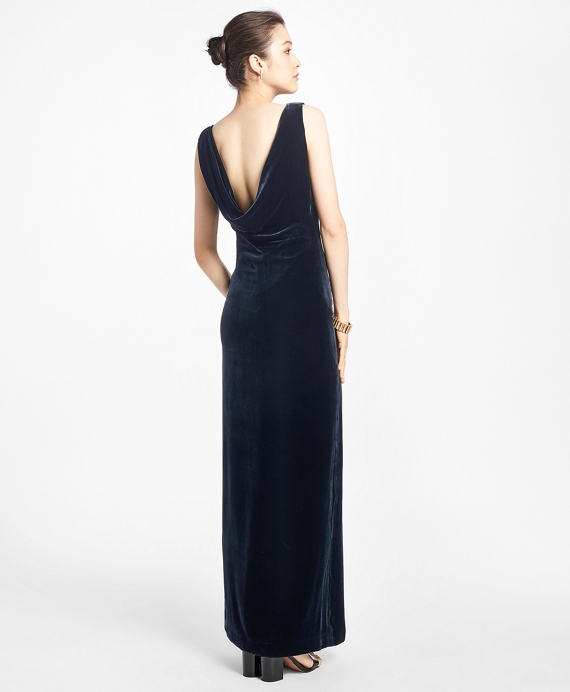 Sleeveless Silk-Blend and Velvet Evening Gown - Brooks Brothers