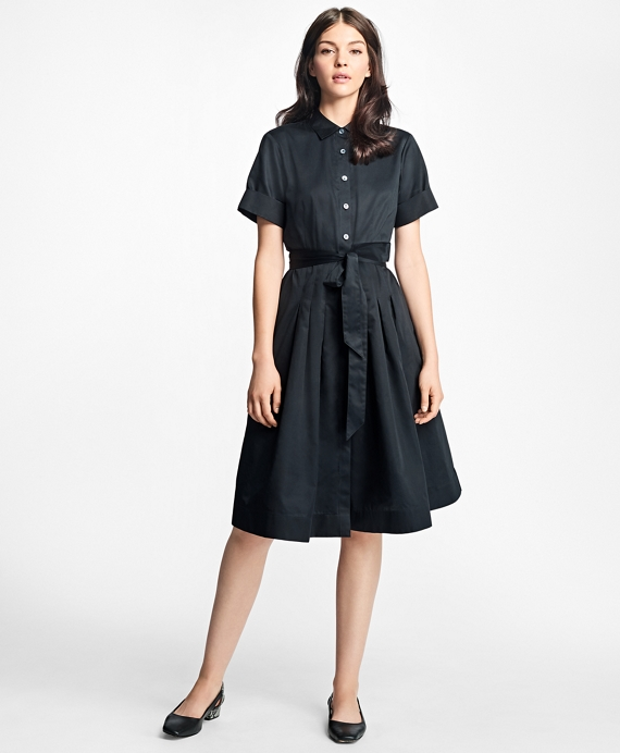 Cotton Sateen Shirtdress Black