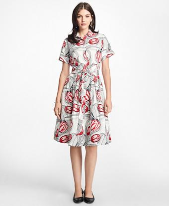Tulip-Print Cotton Sateen Shirtdress