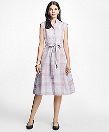 Cotton Poplin Mini-Gingham Trapeze Shirtdress