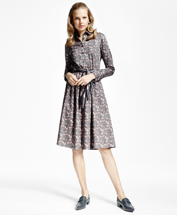 Botanical-Print Cotton Sateen Shirtdress Grey-Multi