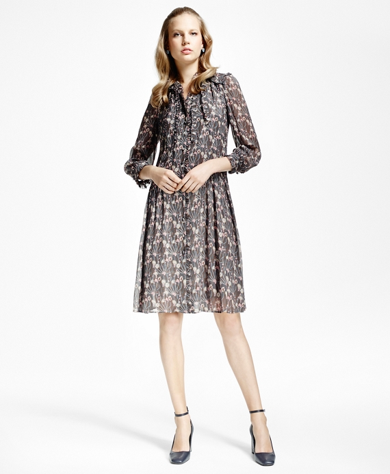 Silk Crepe Crinkle Shirtdress Grey-Multi
