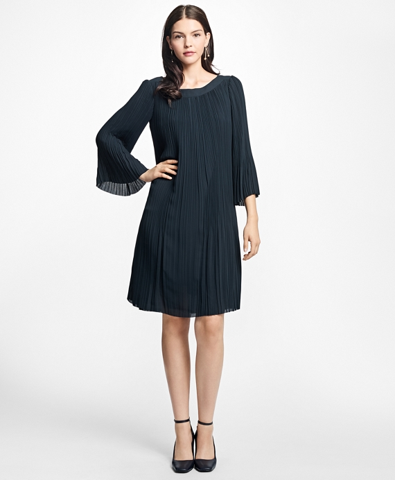 Pleated Boatneck Dress Black
