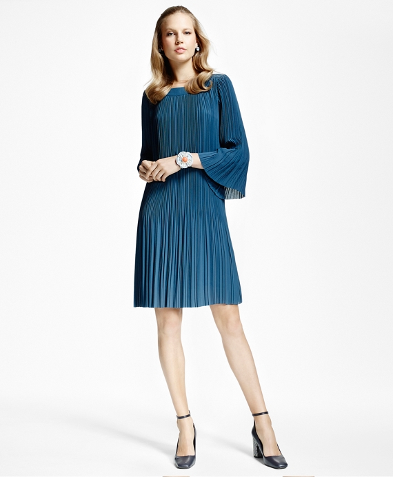 Pleated Boatneck Dress Blue