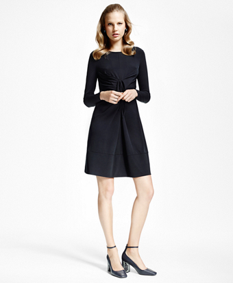 Jersey-Knit Front-Tucked Dress