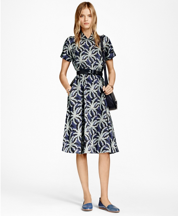 Palm Tree Print Cotton Sateen Shirt Dress Blue