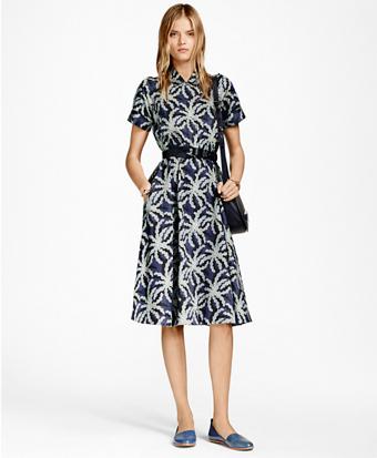 Palm Tree Print Cotton Sateen Shirt Dress