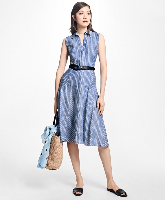 Striped Linen Shirt Dress Blue