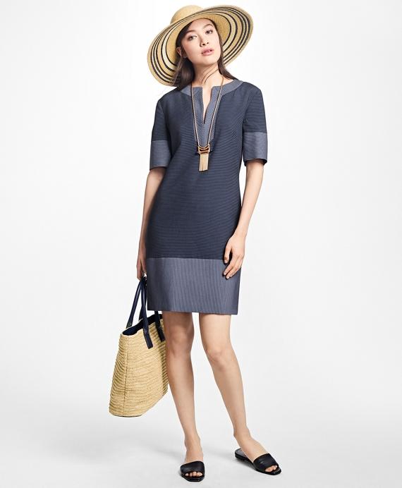 Corded Cotton-Blend Shift Dress Navy