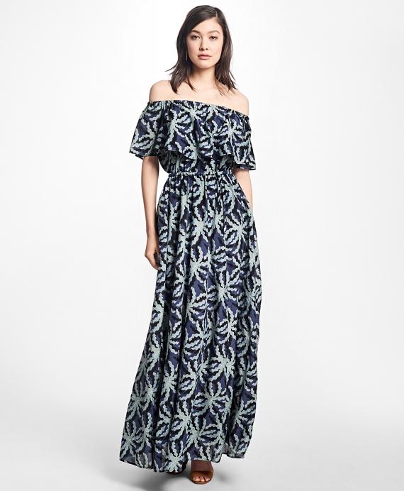 Palm Tree Print Cotton-Silk Maxi Dress Blue