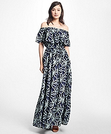 Palm Tree Print Cotton-Silk Maxi Dress