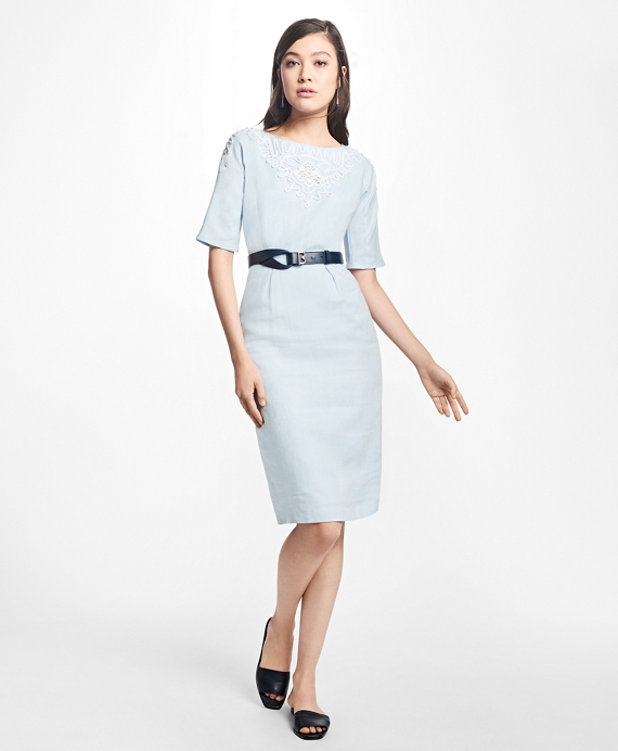 Cord-Embroidered Linen Sheath Dress Chambray Blue