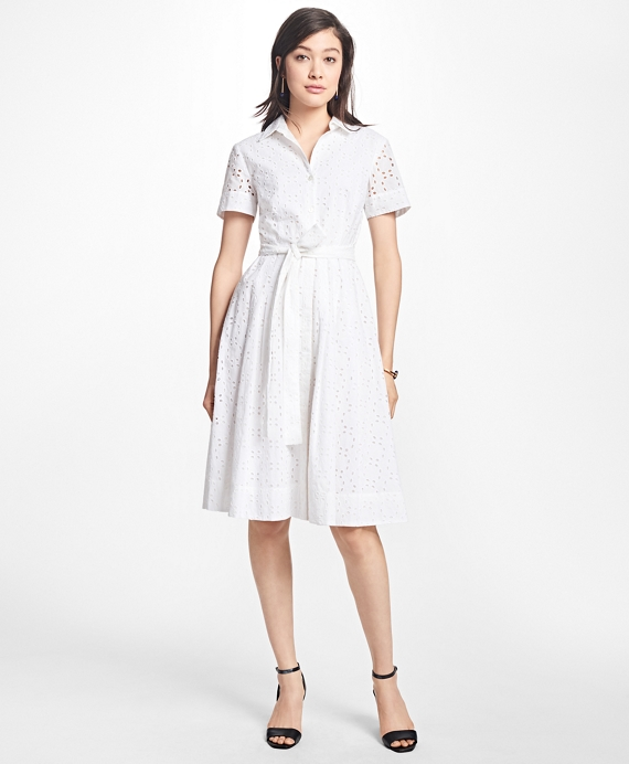 Cotton Eyelet Shirt Dress White