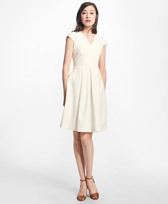 Pleated Stretch-Cotton V-Neck Dress Ivory