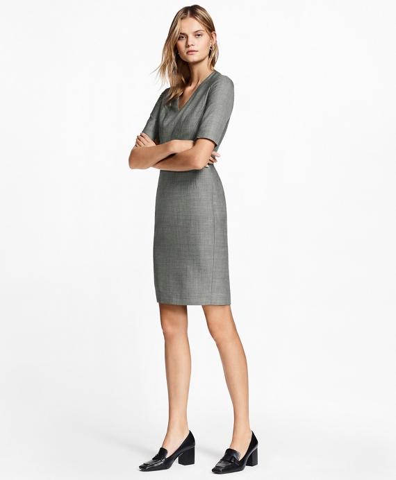 Sharkskin Stretch Wool Sheath Dress Grey