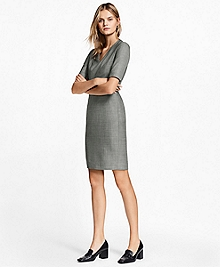 Sharkskin Stretch Wool Sheath Dress