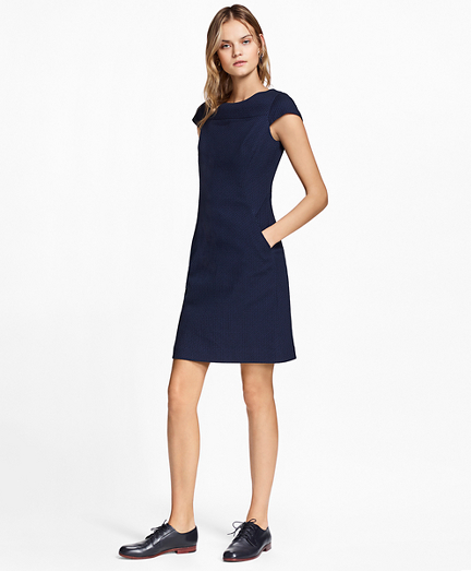 Stretch Cotton Jacquard Cap-Sleeve Dress