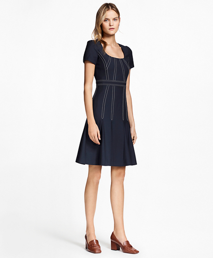 Pleated Wool Crepe Dress