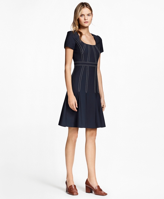 Pleated Wool Crepe Dress Navy