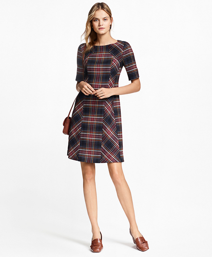 Plaid Double-Faced Wool-Blend Dress