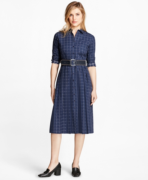 Dobby Checked Oxford Shirtdress Blue