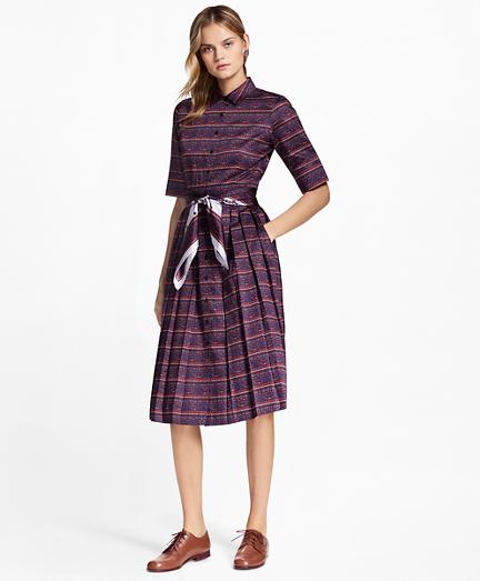 Ribbon-Print Cotton Sateen Shirtdress
