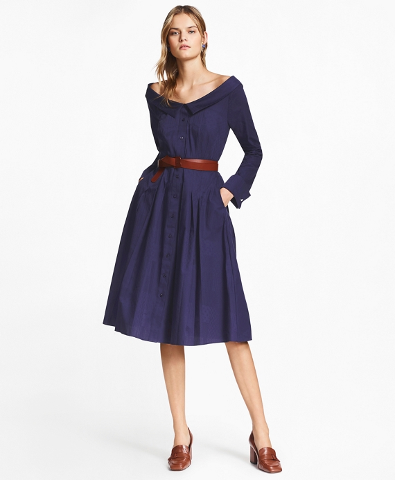 Patchwork Jacquard Portrait-Collar Shirtdress Navy