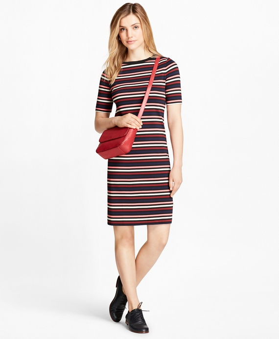 Striped Cotton Interlock Jersey T-Shirt Dress Red-Multi