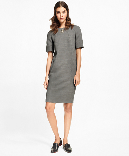 Double-Weave Stretch-Wool Shift Dress