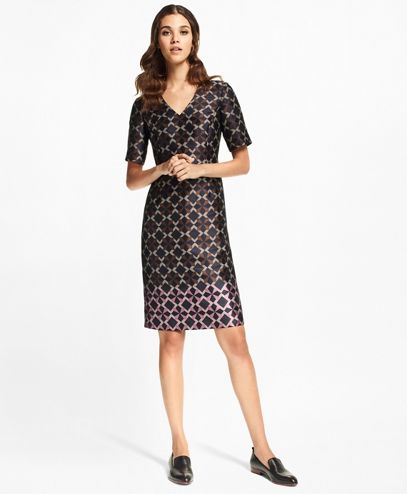 Geometric Jacquard Sheath Dress Pink-Brown