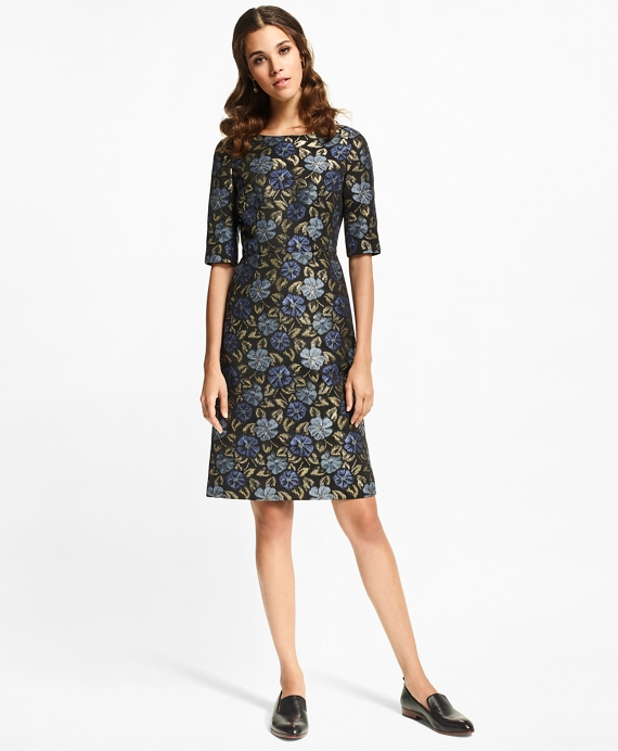 Floral Jacquard Sheath Dress Blue-Multi